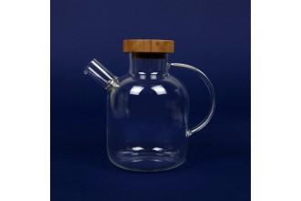 Чайник стеклянный с деревянной крышкой 600 мл